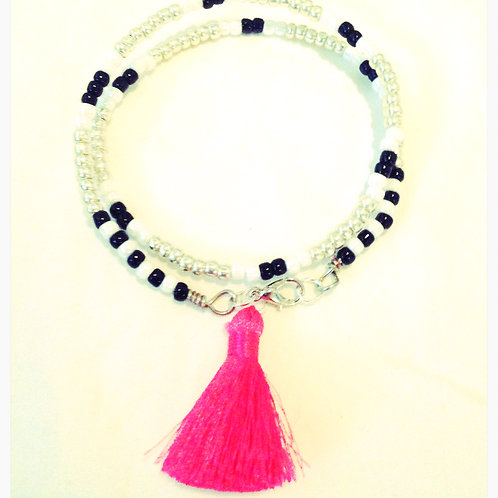 Black, White & Silver Tassel JA Beaded Bracelet