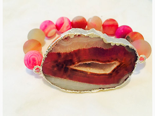 Large Red/PinkDruzy Stone with Agate Beads