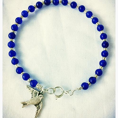 Blue Jasper Bead and Silver Sparrow JA Bracelet
