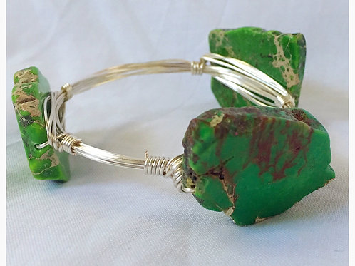 Green Slab Howlite Stone JA Bangle