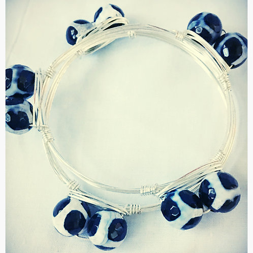 Black & White Agate JA Bangle