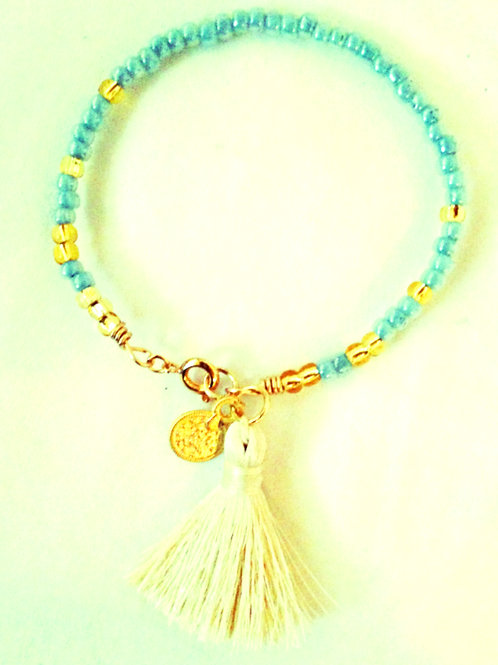 Soft Aqua, Ivory and Gold JA Beaded Bracelet