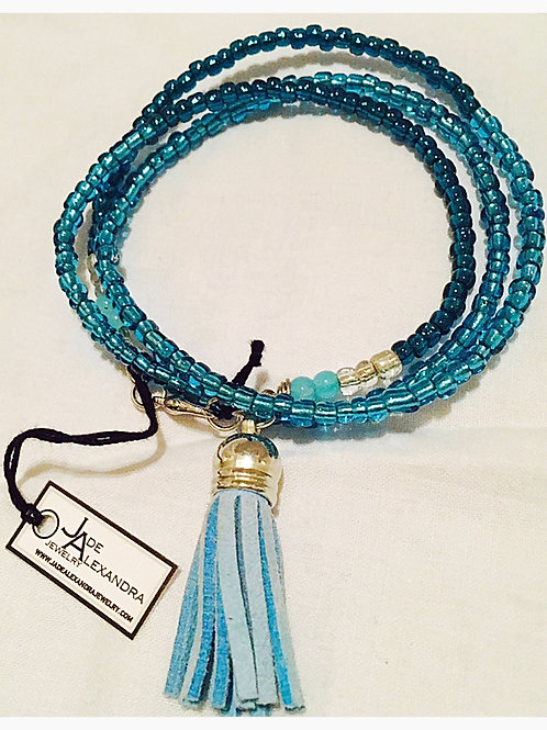 Aqua Bead and Suede Tassel JA Beaded Bracelet
