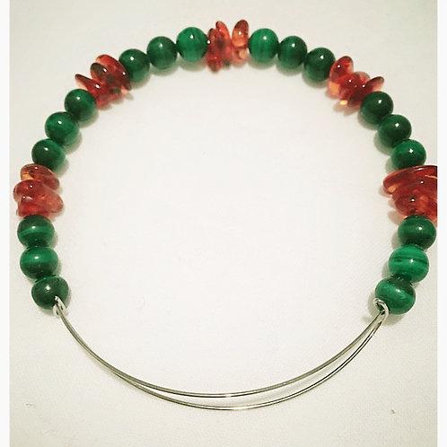 Adjustable Jade Bead & Natural Amber JA Bracelet