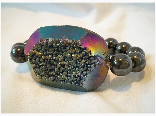 Iridescent Druzy with Hematite Beads JA Bra