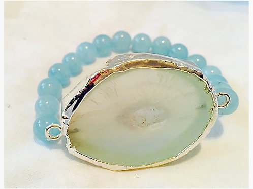 Large Light Green Druzy with Blue Jasper Beads