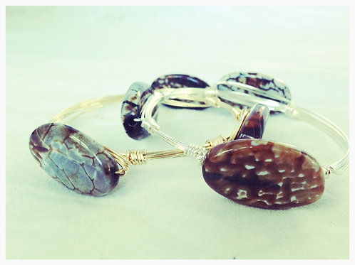 Brown / Gray / Ivory Agate JA Bangle