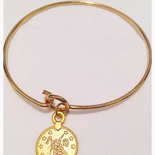 Silver plated Gold Tone Coin Slim JA Bracelet