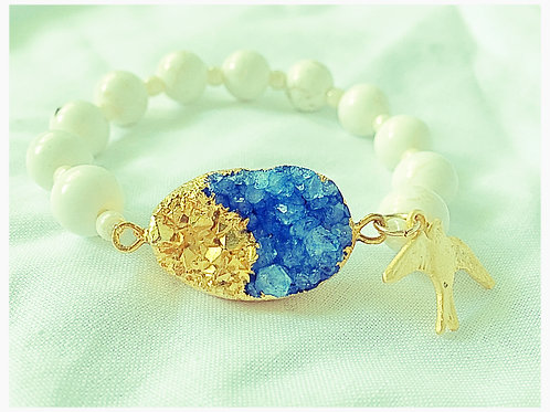 Blue &Gold JA Druzy Bracelet