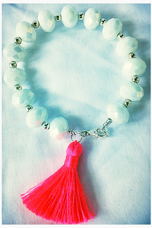 White Faceted Bead & Tassel JA Bracelet