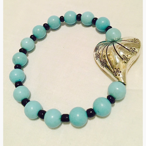 Turquoise and Black Bead Silver Heart JA Bracelet