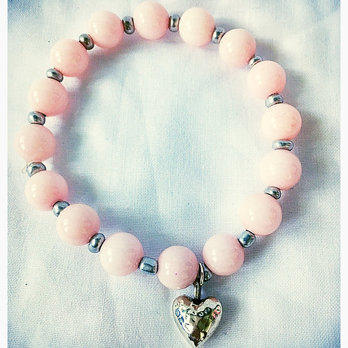 Pink Jade & Heart Charm JA Beaded Bracelet