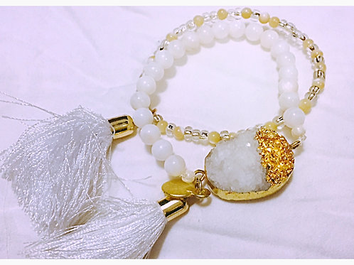 White&Gold Druzy Tassel with delicate bead set