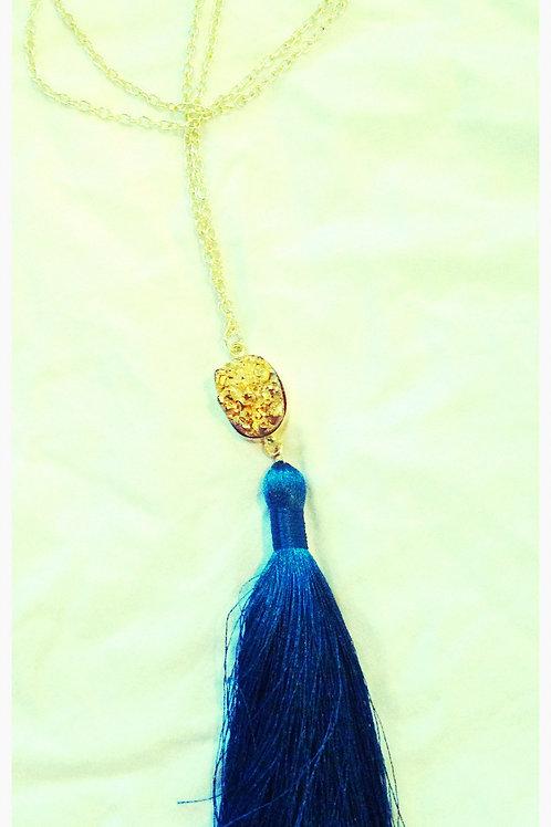 Gold Druzy & Tassel JA Necklace