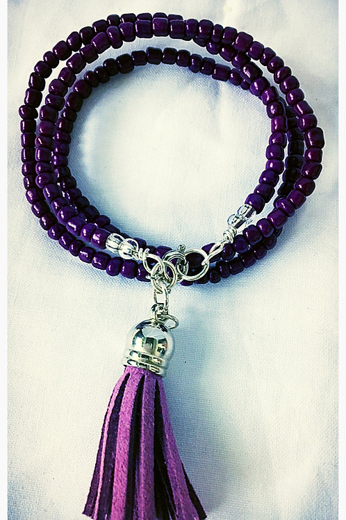 Purple Beaded & Tassel JA Bracelet