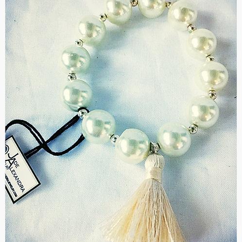 Acrylic Pearl & Tassel JA Beaded Bracelet
