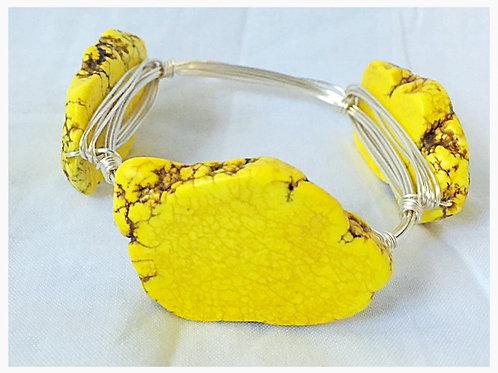 Yellow Slab Howlite Stone JA Bangle