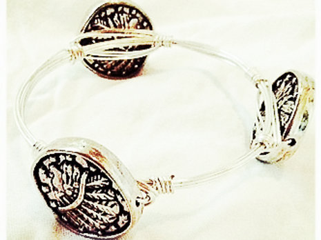 Silver Indian Charm Coin JA Bangle