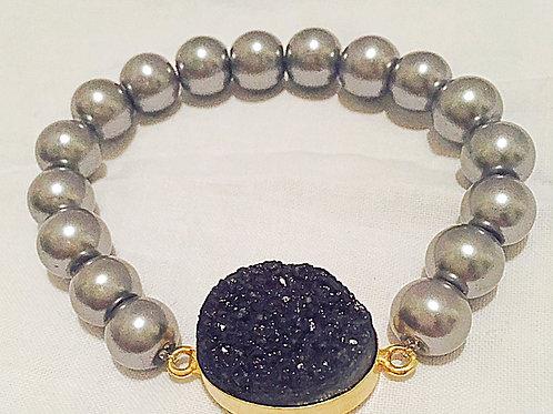 Black Round JA Druzy Bracelet
