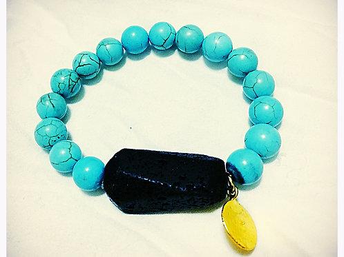 Turquoise and Lava Stone JA Beaded Bracelet