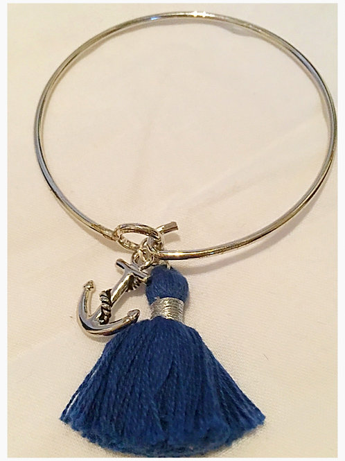 Silver plated Tassel & Anchor Slim JA Bracelet