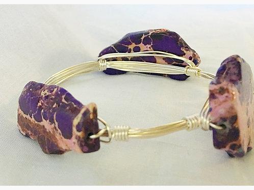Purple Slab Howlite Stone JA Bangle