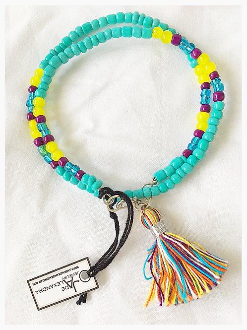 Turquoise Yellow & Purple Bead Tassel JA Bracelet