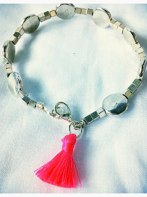 Silver Bead and Tassel JA Bracelet