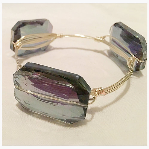 Simulated Aqua-Marine / Amethyst JA Bangle