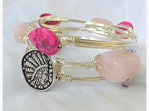 Pink Quartz, Rose Quartz and Indian Coin Set