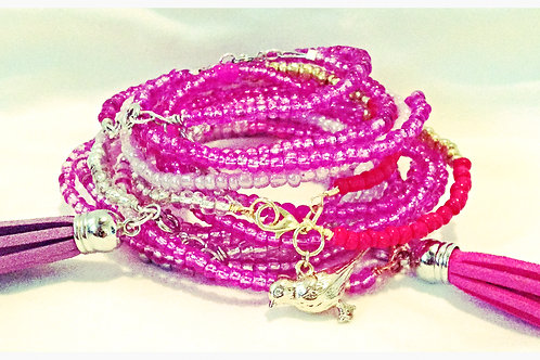 Pink (Bright or Soft) JA Beaded Bracelet