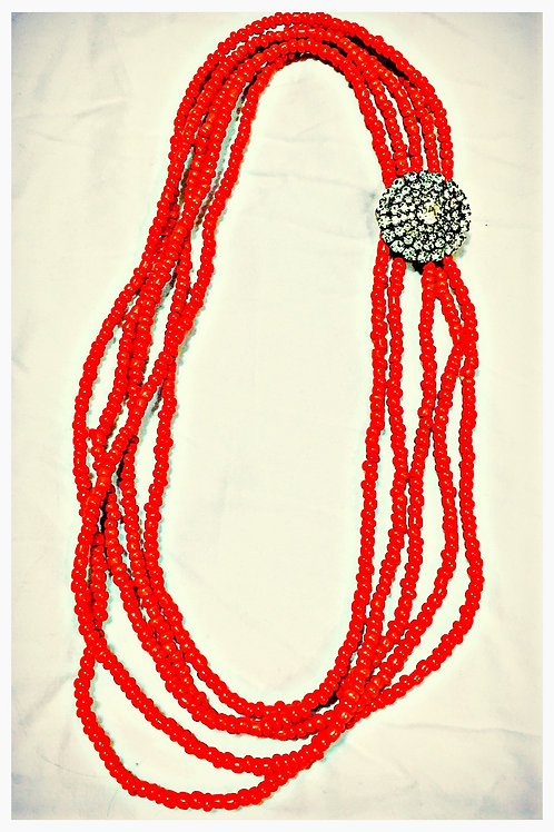 Coral JA Beaded Necklace
