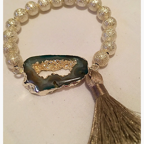 Green Genuine Geode, Silver Bead & Tassel Bracelet