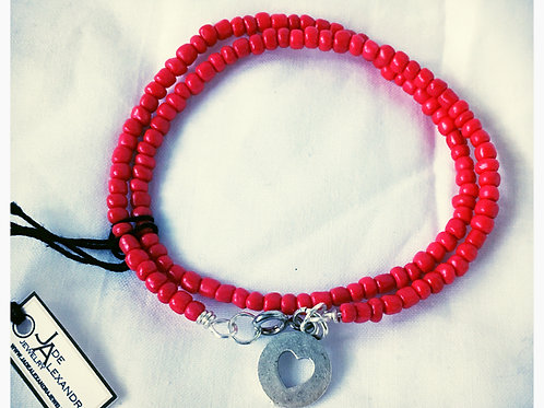 Red Bead and Clover Cutout Charm JA Bracelet