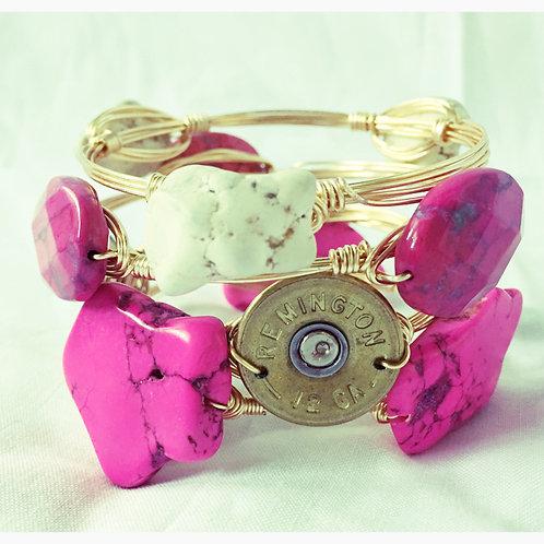 Pink&Ivory Howlite, Pink Quartz&Shotgun Shell Set