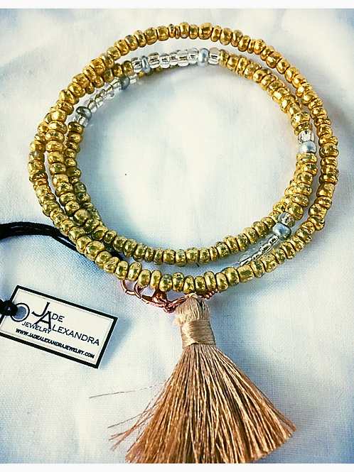 Gold Beaded Bracelet with Adornment Choice