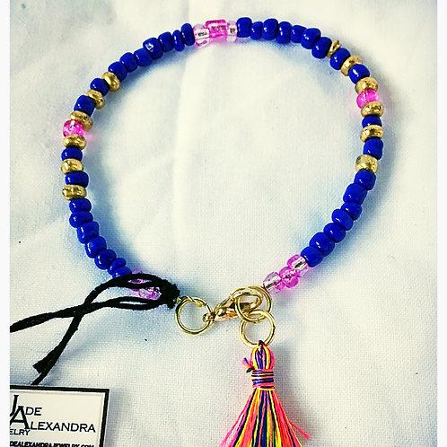 Blue, Pink and Gold Beaded Tassel JA Bracelet