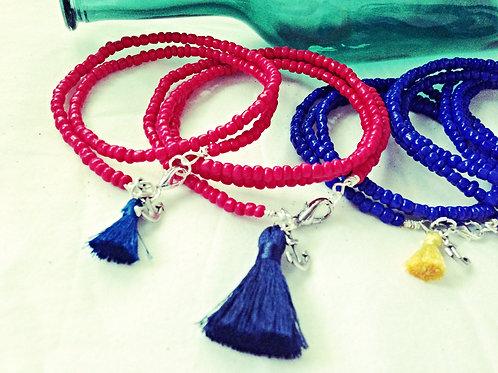 Nautical JA Beaded Bracelet