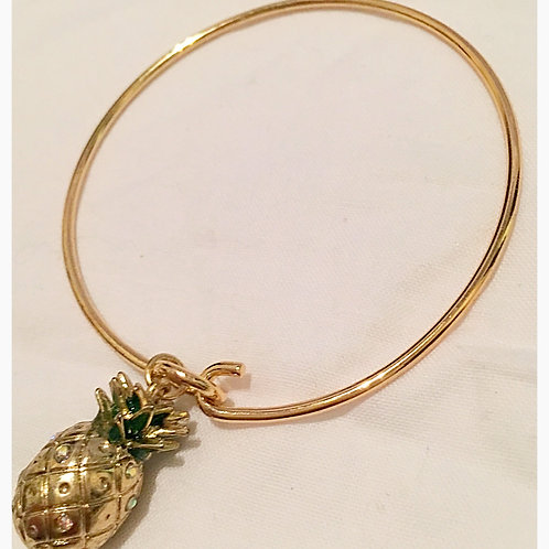 Silver plated Gold Tone Pineapple Slim JA Bracelet