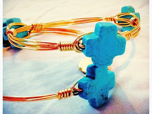 Small Cross Turquoise JA Bangle