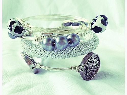 Silver Rope, Coin, B/W Agate, Black Pearl Set