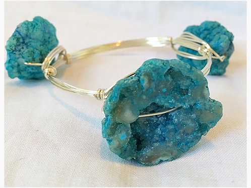 Beautiful Blue Druzy Raw Stone JA Bangle