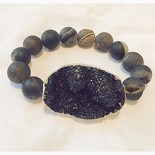 Large Black Druzy Stone with Agate Beads