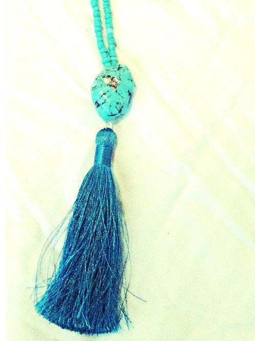 Turquoise Tassel JA Beaded Necklace