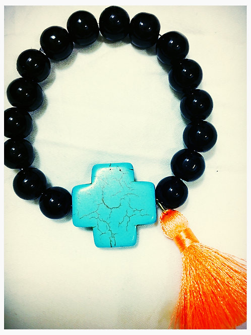Black Bead,Turquoise Cross & Coral Tassle Bracelet