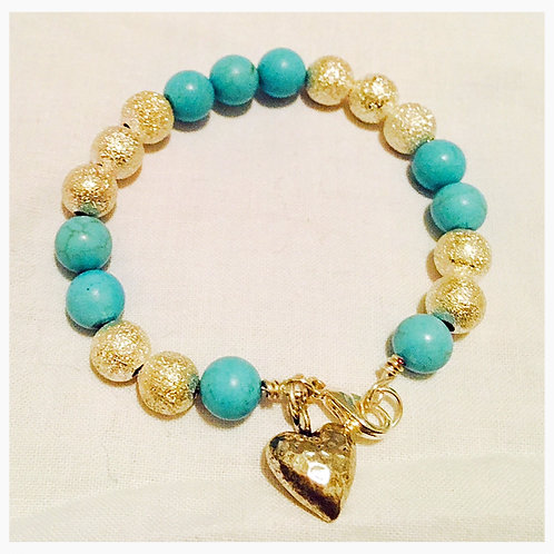 Turquoise and Etched Silver JA Bracelet