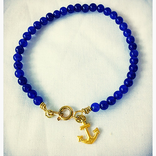 Blue Jasper Bead and Gold Anchor JA Bracelet