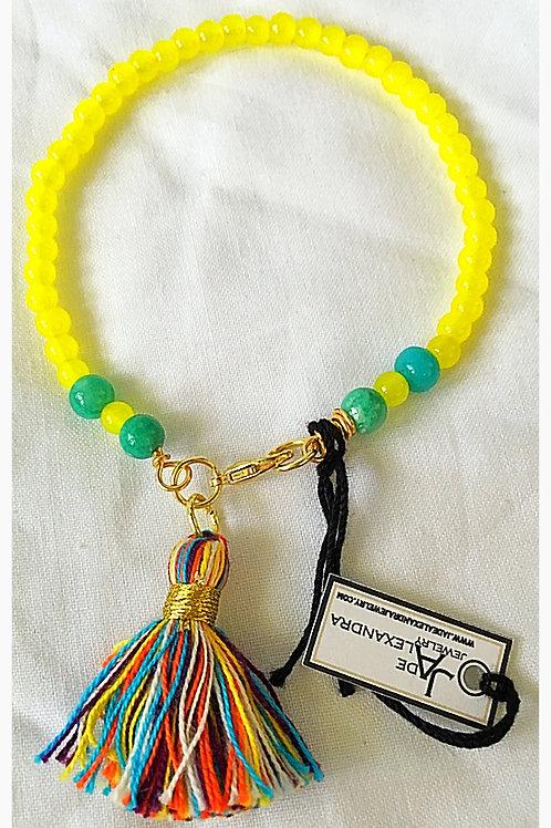 Yellow and Jade Bead Tassel JA Bracelet