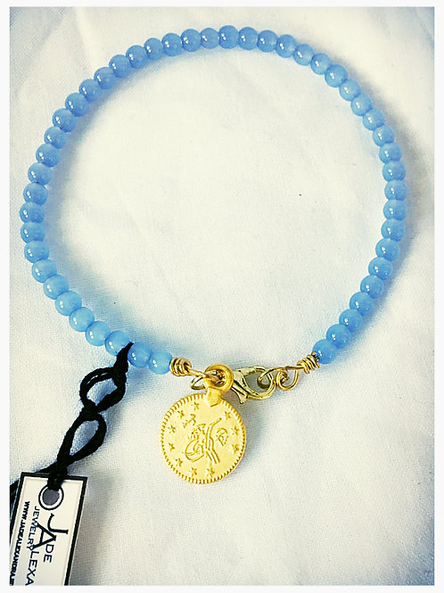 Blue Jasper Bead and Gold Coin JA Bracelet
