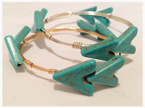 Turquoise Howlite Arrow JA Bangle